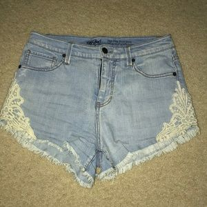 Hi Rise jean shorts with lace detailing